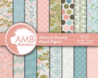 Botanical Digital Paper, Floral Digital Papers, Shabby Chic Floral, Pastel Floral Pattern, Raspberry paper, AMB-1466