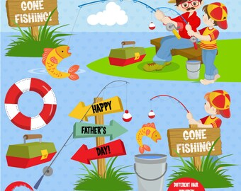 Father's Day clipart, Gone Fishing clipart, Daddy and Me Clipart, Invitation elements, commercial use, vector graphics, AMB-1358