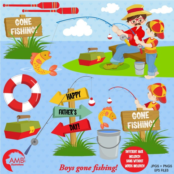 Items similar to Father's Day clipart, Gone Fishing ...