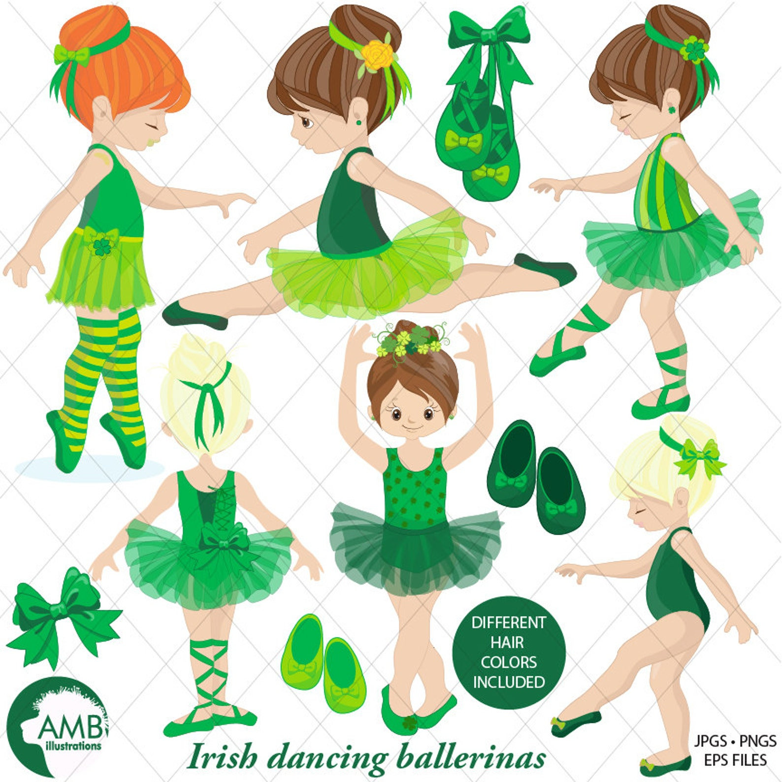 irish ballerina clipart, irish ballet clipart, irish dancers, girl dancing, commercial use, instant download, amb-1588