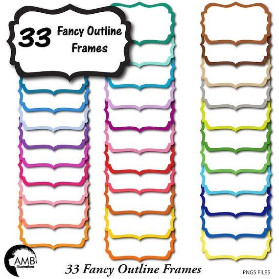Frames Clipart Fancy Bright Colored Outline Frames Etsy