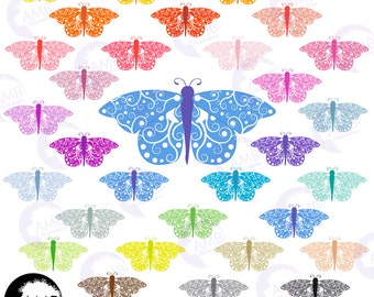 Butterfly clipart, MOTH clipart, 32 Multicolored Butterflies Clip Art, Scrapbooking and Card making, Commercial Use, AMB-1454