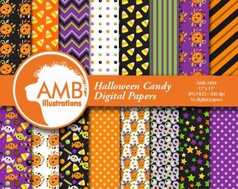 Halloween Digital paper. Halloween papers, Halloween backgrounds, Halloween candy Papers, AMB-2484