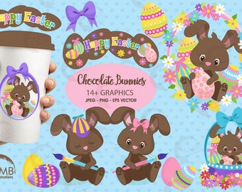 Easter Clipart, Bunny Clipart, Chocolate Bunny Clipart, Easter Chocolate clipart, Easter Egg Hunt Clipart, Commercial Use,  AMB-1176