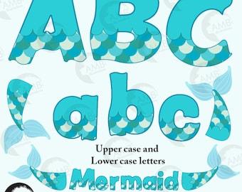 Mermaid alphabet, Mermaid letters, Mermaid scales, Mermaid tail clipart, commercial use, vector graphics, digital clip art, AMB-2355