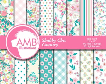 Shabby Chic papers, Floral Digital Papers, Summer Pastel papers and backgrounds, Pink Flower paper, Country scrapbook paper, AMB-1322