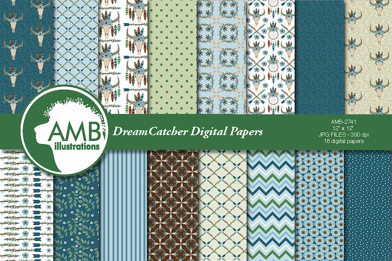 Arrows Tribal AMB-2742 Dreamcatcher papers Bull skull papers Boho papers Feathers Digital Papers