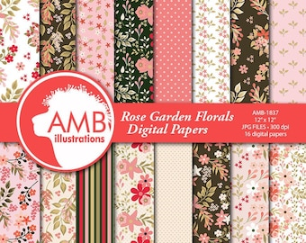 Floral papers, Rose GardenDigital Papers, Shabby Chic papers, Pinks and Greens, scrapbook papers, flower paper, AMB-1837