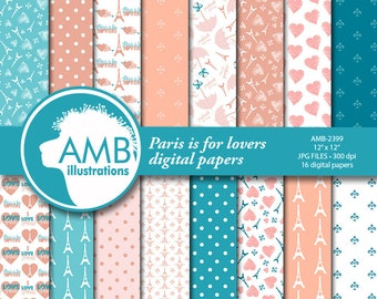 Parisian Digital Papers,  Paris themed Papers, Pink Patterned Papers, Coral and teal, Commercial Use, AMB-2399