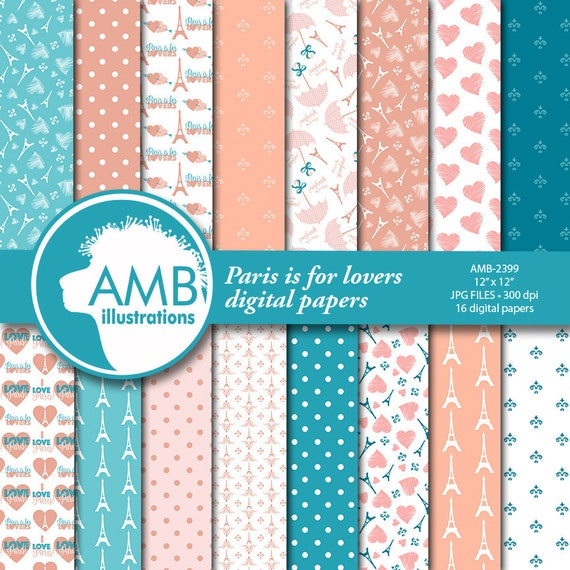 Parisian Digital Papers Paris Themed Papers Pink Patterned Papers Coral And Teal Commercial Use Amb 2399 By Ambillustrations Catch My Party