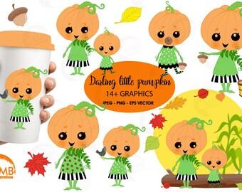 Darling little pumpkins clipart, Pumpkin Clipart, cute little Pumpkin Faces, Girlie Pumpkin, Halloween clipart, Commercial Use, AMB-2261