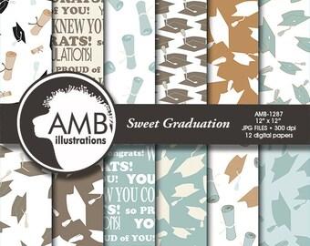 Graduation digital papers, Grad papers, Graduation scrapbook papers, digital patterns, commercial use, AMB-1287