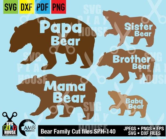 228ab1d1 Bear family SVG, Svg Files, papa bear svg, mama bear svg, baby bear svg,  Cricut Cut Files, SPH-141