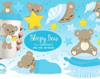 Teddy bear, nursery, slumber party, baby boy, baby blue bear, Digital Clipart - Commercial Use, , AMB-980