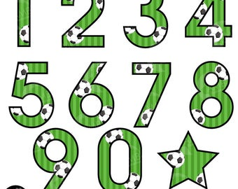 Soccer Number Clipart, Football Clipart, Sports Team Clipart, Soccer Themed Numbers, Numbers and Symbols Clip Art, Commercial Use, AMB-1983