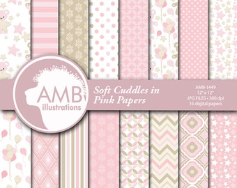 Baby Girl Digital Papers, Nursery Papers, Slumber Party Backgrounds, It's a Girl Scrapbook Papers, Commercial Use, AMB-1449