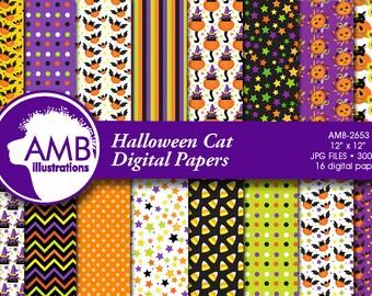 Halloween Digital paper. Halloween cats papers, Halloween cat backgrounds, Halloween kittens papers, AMB-2653