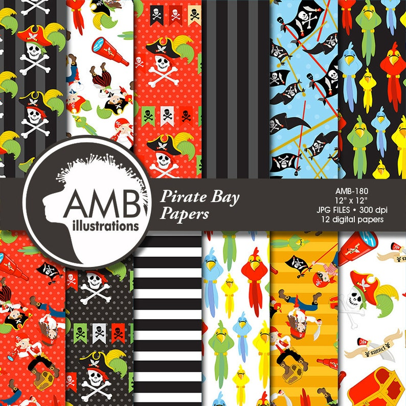 Pirate digital papers Nautical papers Pirate Party Pirate image 1