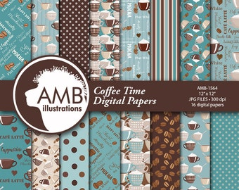 Coffee Digital Papers, Coffee Bean Papers, Coffee names paper, Chocolate brown and teal papers, cafe au lait paper, comm. use, AMB-1564