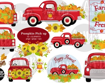 Old Red Truck Clipart, Retro Truck with pumpkins, Farmhouse,  Commercial Use, HTV, Vector Clip Art,  AMB-2822