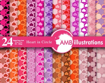 Heart digital papers, Valentine digital papers, scrapbook, backgrounds, commercial use, instant downloads, AMB-330