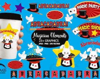 Magic clipart, Magician Show clipart, Magic Embellishments, Magic Birthday party, Magic Hat Clipart, commercial use, AMB-1194