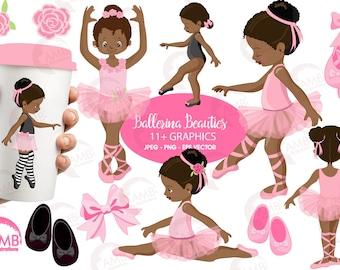 Ballerina clipart, Ballet clipart, African American Ballet Clipart, Pink ballerina, Dark skin ballet dancers, AMB-1362