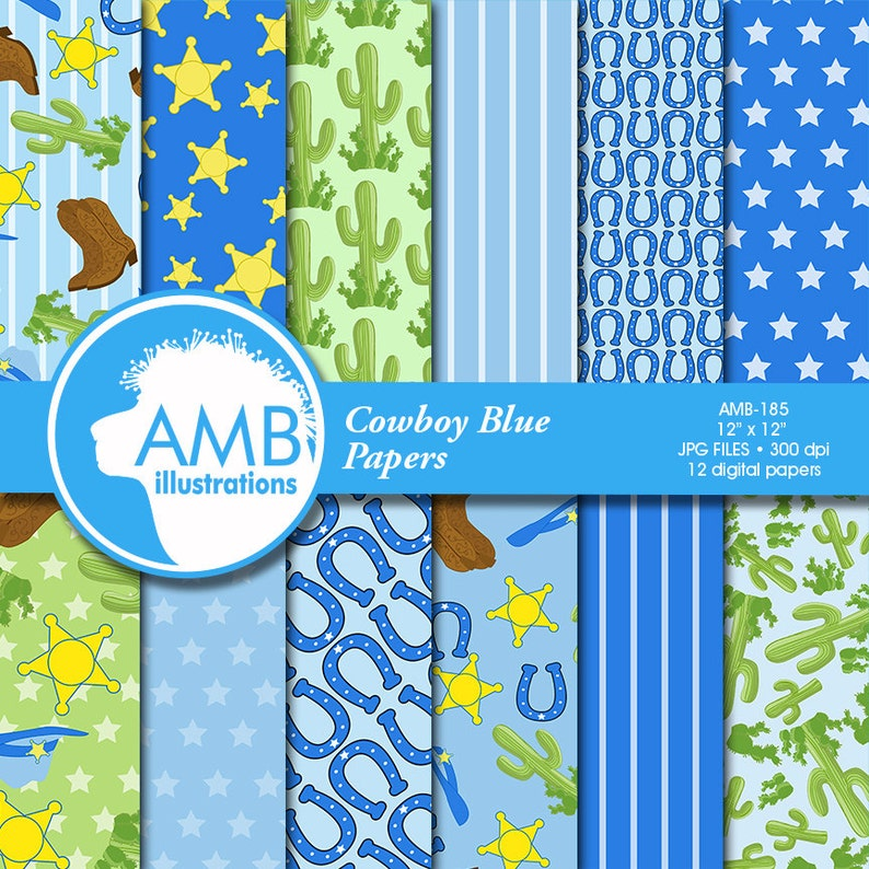 175be47cbff Cowboy digital paper, Cowboys in Blue background, Western theme  Scrapbooking papers, The Old West in Blue, commercial use, AMB-185