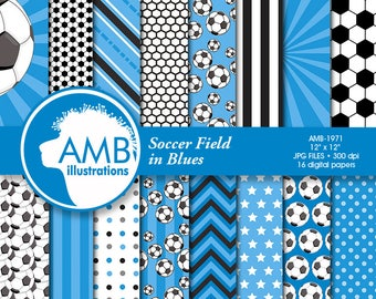 Sports Digital Paper, Blue Soccer Papers and Backgrounds, Football Field Papers, Soccer Scrapbook Papers, Comm.Use, AMB-1971