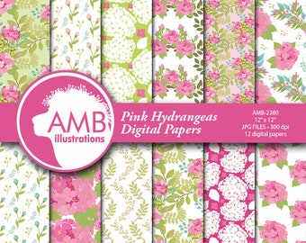 Hydrangea Digital Papers, Floral Digital papers, Shabby chic papers, Scrapbook papers, Floral Digital Backgrounds, AMB-2380
