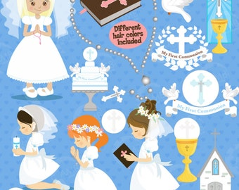 First communion clipart, Christian clipart, Bible, rosary, communion banner, create invitations & crafts, commercial use, AMB-1255