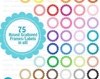 Scalloped frames, round labels, scalloped labels, commercial use, digital clip art, AMB-1153