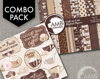 COMBO Coffee clipart, Coffee time clipart, Coffee frame clipart, Cafe au Lait cups, Coffee words, Cafe Digital Papers, AMB-1711