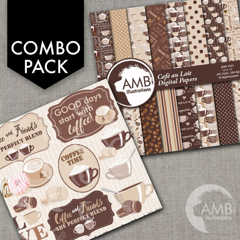 COMBO Coffee clipart Coffee time clipart Coffee frame image 1