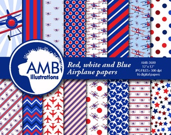 Airplane papers, Biplane papers, boy papers, red, white and blue planes, Flying machine papers, Plane papers, AMB-2600