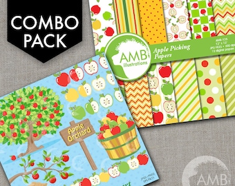 COMBO Apple Clipart and Digital Papers, Harvest, Thanksgiving, Fall, Autumn Theme, Apple Orchard Clipart, Commercial Use, AMB-1647
