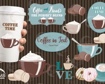 Coffee clipart, Coffee time clipart, Coffee frame clipart, Coffee teal and brown cups, Coffee words,  digital clip art, AMB-1590