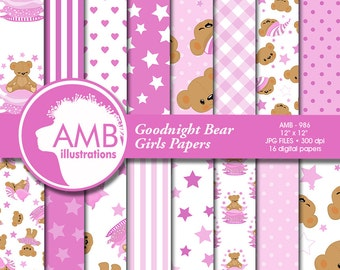 Goodnight Bear Digital Papers, Nursery Papers, Slumber Party Backgrounds, It's a Girl Scrapbook Papers, Comm-Use, AMB-986