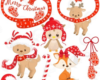 Christmas Forest critter Clipart, Reindeer Clipart,  Christmas Owl clipart, Christmas Fox Clipart, Commercial Use, AMB-1510