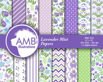 Floral digital papers, Wedding papers, Butterfly paper, Shabby Chic scrapbook papers, Lavender Floral papers, AMB-1067