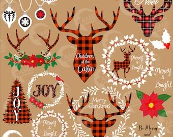 Lumberjack Christmas clipart, Buffalo plaid clipart, Buck clipart, Merry Christmas clipart, Lodge clipart, Holiday clipart AMB-2106