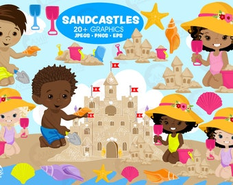Sandcastles clipart, Beach clipart, Multi ethnic kids, summer clipart, Commercial Use, AMB-2970