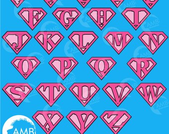 Superhero Alphabet, superhero letters clipart, Super Girl Letters in Pink, Super Man, Commercial Use, AMB-1883