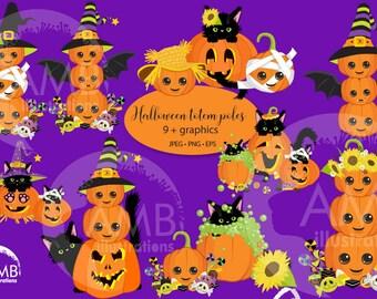 Pumpkin clipart, cute Pumpkin clipart, Cat clipart, Halloween Clipart, Pumpkin Totem Poles, Commercial Use, AMB-2665