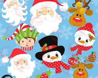 Christmas faces clipart, Christmas Santa clipart, Christmas elf clipart, commercial use, snowman clipart, instant download, AMB-197