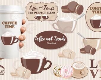 Coffee clipart, Coffee time clipart, Coffee frame clipart, Coffee cups, Coffee words,  digital clip art, AMB-1566
