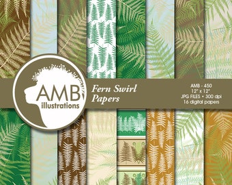 Fern papers, forest papers, scrapbook, instant download, commercial use, AMB-450