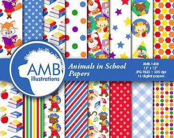 School digital papers, Classroom scrapbook papers, animal school paper, Back to school papers, School paper, commercial use, AMB-1408