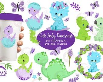Dinosaur clipart, baby dinosaur, Baby dino clipart, nursery clipart, dinosaur for babies, digital clipart, Commercial Use, AMB-2418