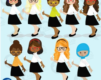 School Teacher clipart, School teacher avatar, Back to school Clipart, classroom clipart,  teacher clipart,  AMB-2389